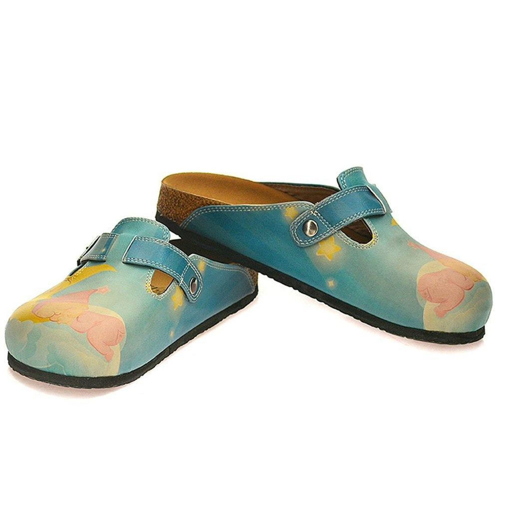 Blue Sleeping Baby Clogs CAL334, Goby, CALCEO Clogs