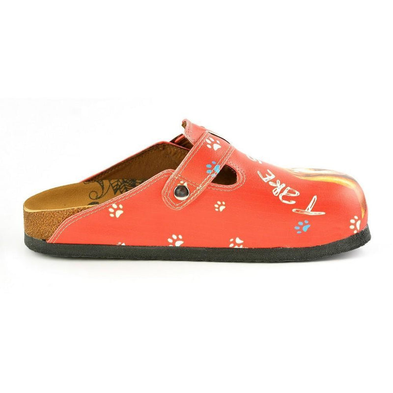 Red, White Colored and White Paw, Brown Cute Dog and Take Suppers Written Patterned Clogs - CAL349 (774942883936)