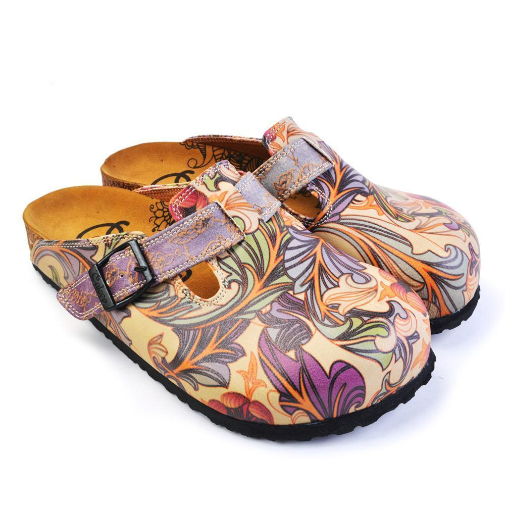 Purple & Pink Floral Slip On Clogs CAL371