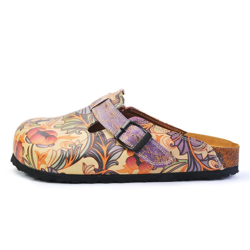 Purple & Pink Floral Slip On Clogs CAL371 (737756250208)