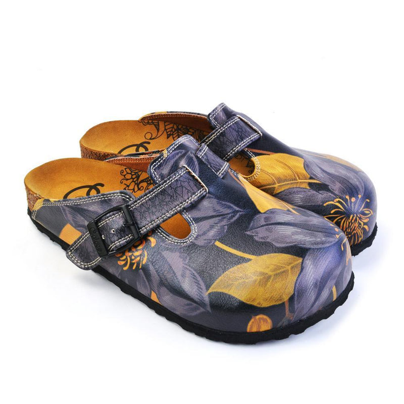 Navy Blue Floral Clogs CAL372 (737756381280)