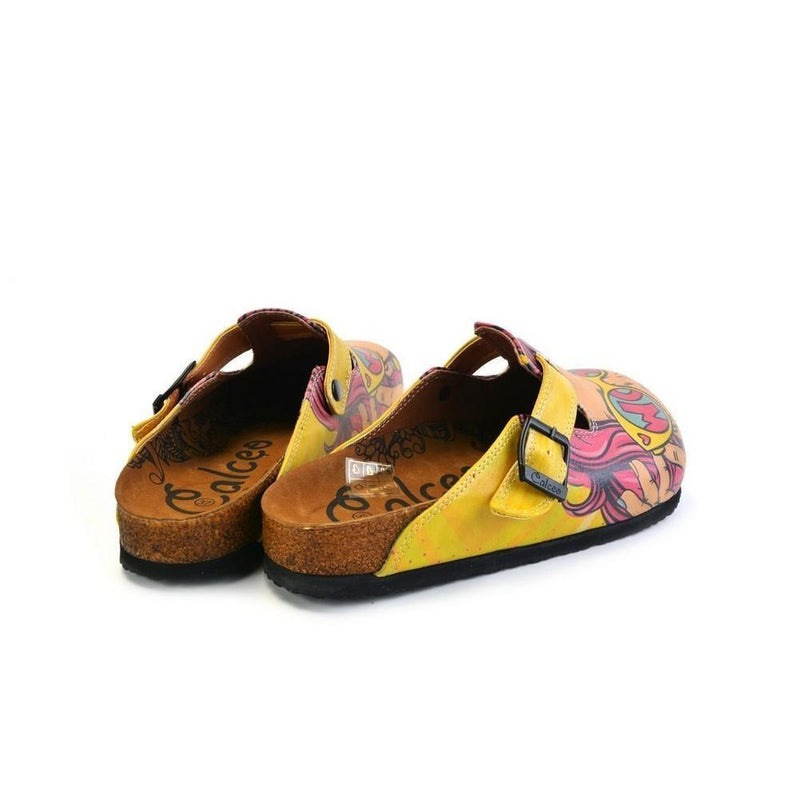 Pink & Yellow Wow Woman Slip-On Mule CAL373 (774935576672)