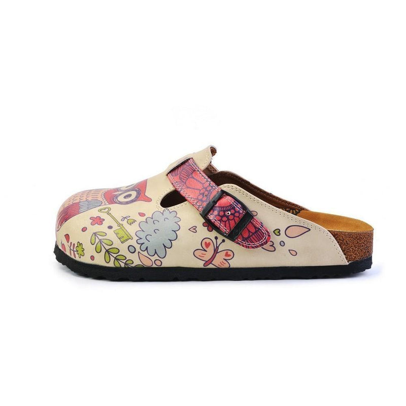 White & Pink Love Owl Slip-On Mule CAL374 (774935773280)