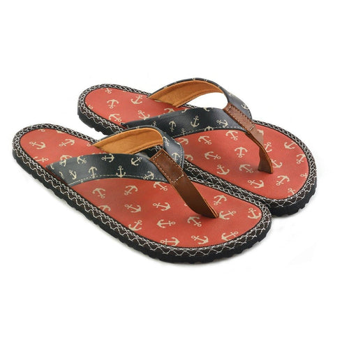 Red & Navy Anchor Flip-Flop CAL412