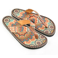 Brown & Red Arabesque Flip-Flop CAL415