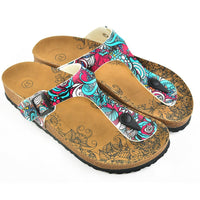 Turquoise & Pink Abstract T-Strap Sandal CAL511