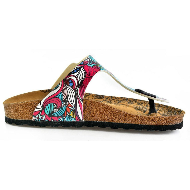 Turquoise & Pink Abstract T-Strap Sandal CAL511 (737680687200)