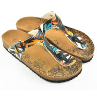 Black & Orange Leaves T-Strap Sandal CAL514
