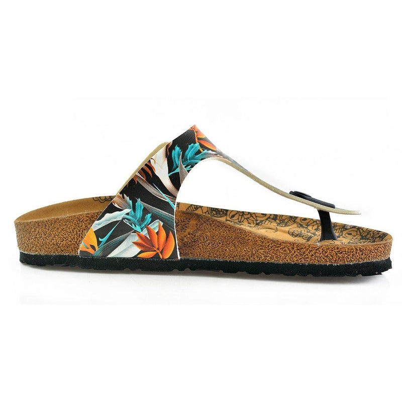 Black & Orange Leaves T-Strap Sandal CAL514 (737680425056)