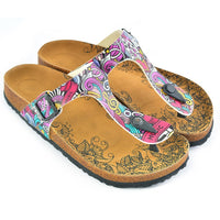 Purple & Pink Music T-Strap Sandal CAL516 (737680326752)