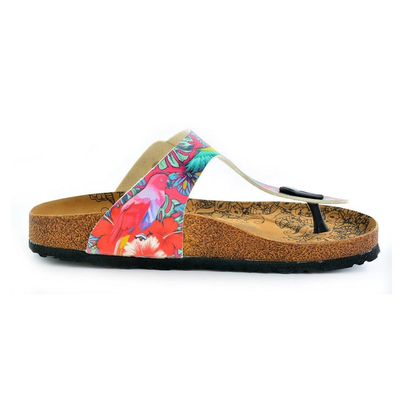 Pink & Turquoise T-Strap Sandal CAL518 (737699627104)
