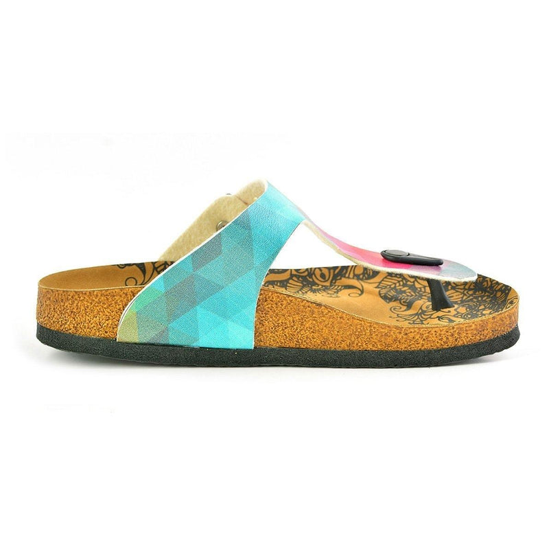 Green & Red Abstract T-Strap Sandal CAL522 (737679966304)