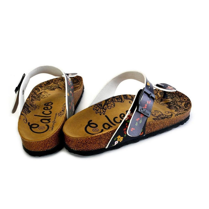 Black and Colored Flowers Patterned Sandal - CAL526 (774935904352)