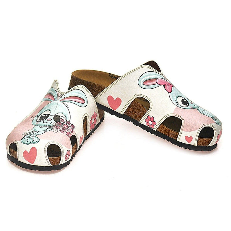 Pink & Gray Bunny Love Clogs WCAL601 (737670004832)
