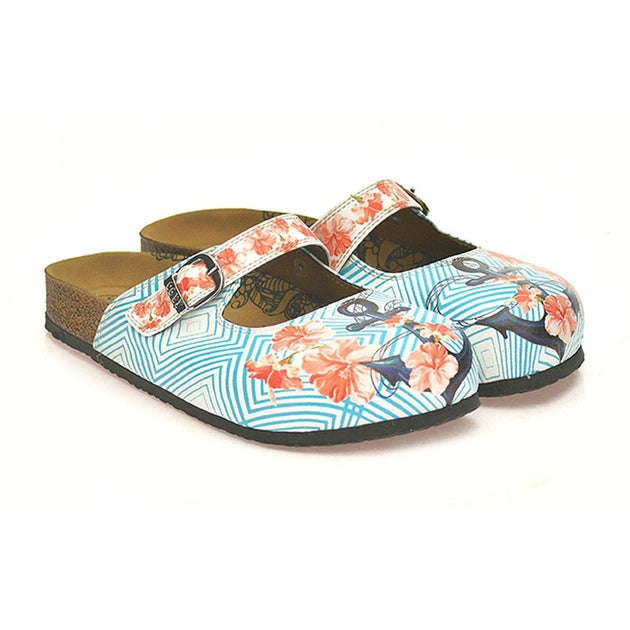 Blue & Coral Floral Anchor Clogs CAL804, Goby, CALCEO Clogs