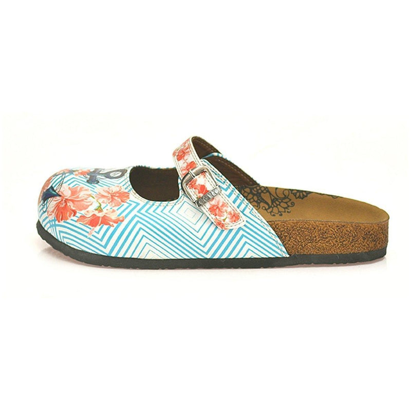 Blue & Coral Floral Anchor Clogs CAL804 (737679540320)
