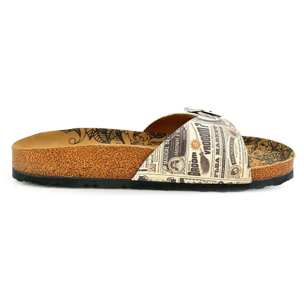 Beige Newspaper Buckle-Accent Sandal CAL905, Goby, CALCEO Sandal