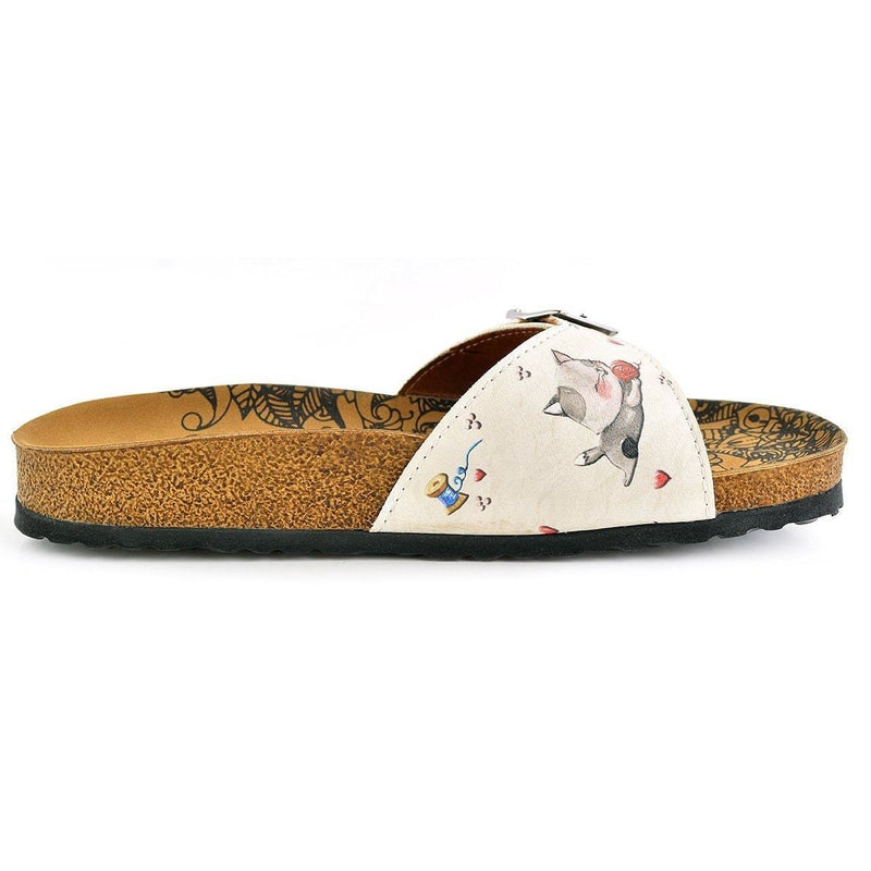 Ivory & Red Cat Buckle-Accent Sandal CAL909 (737678786656)