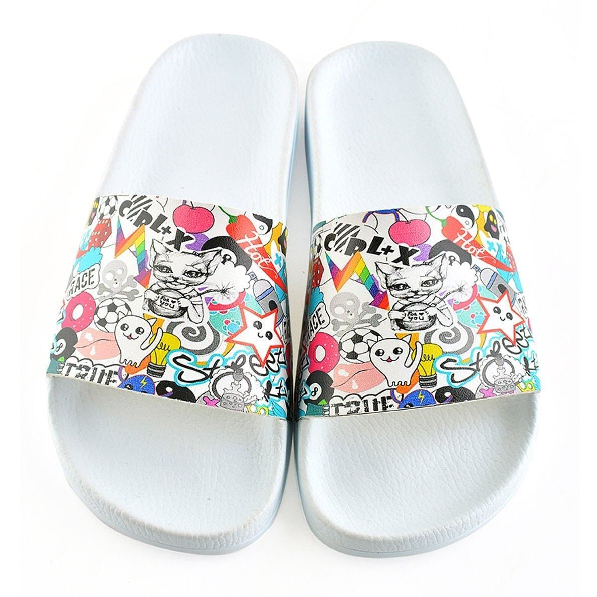 White Sticker Slide Sandal CAP103