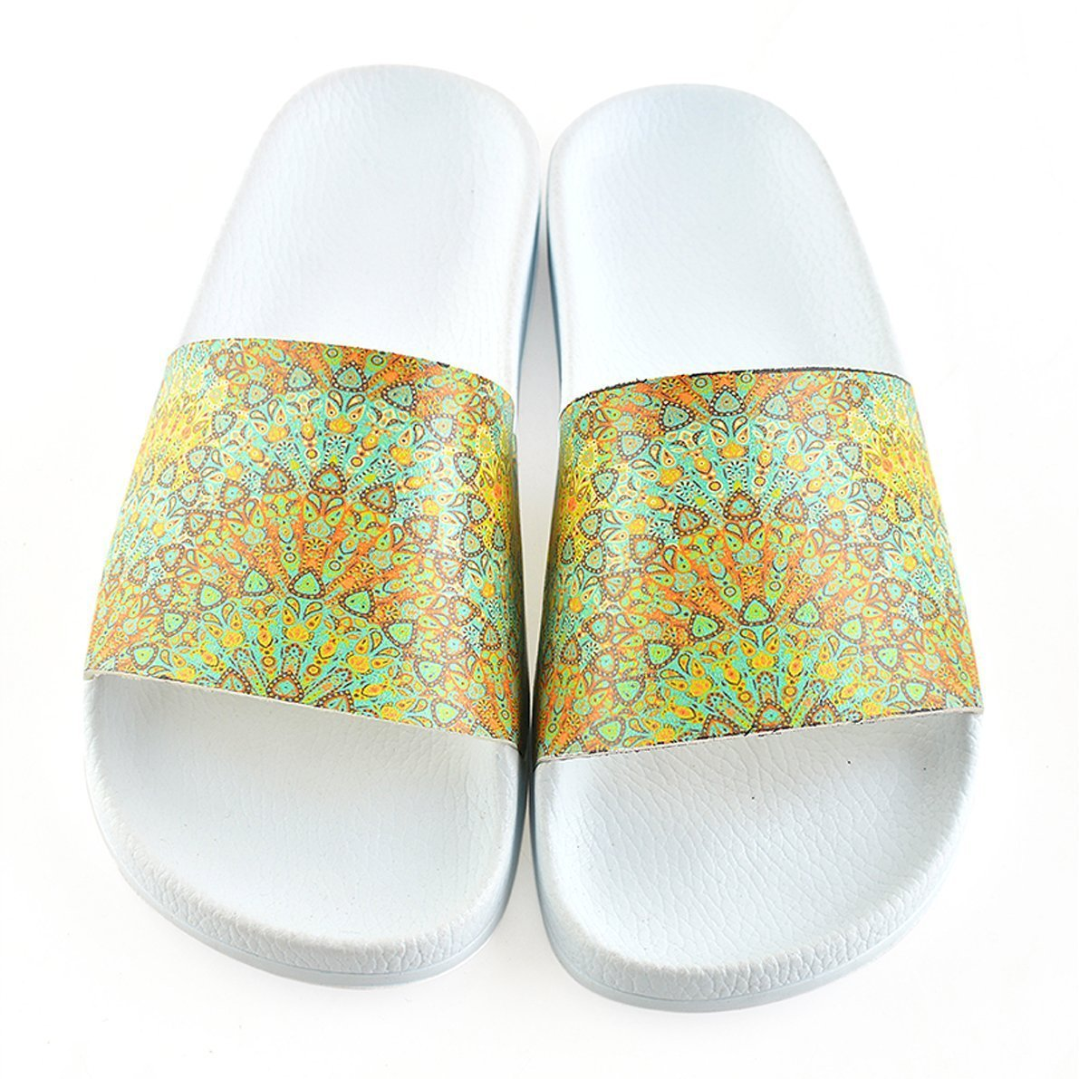 White Medallion Slide Sandal CAP105