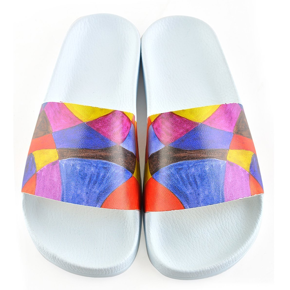 White Geometric Slide Sandal CAP107