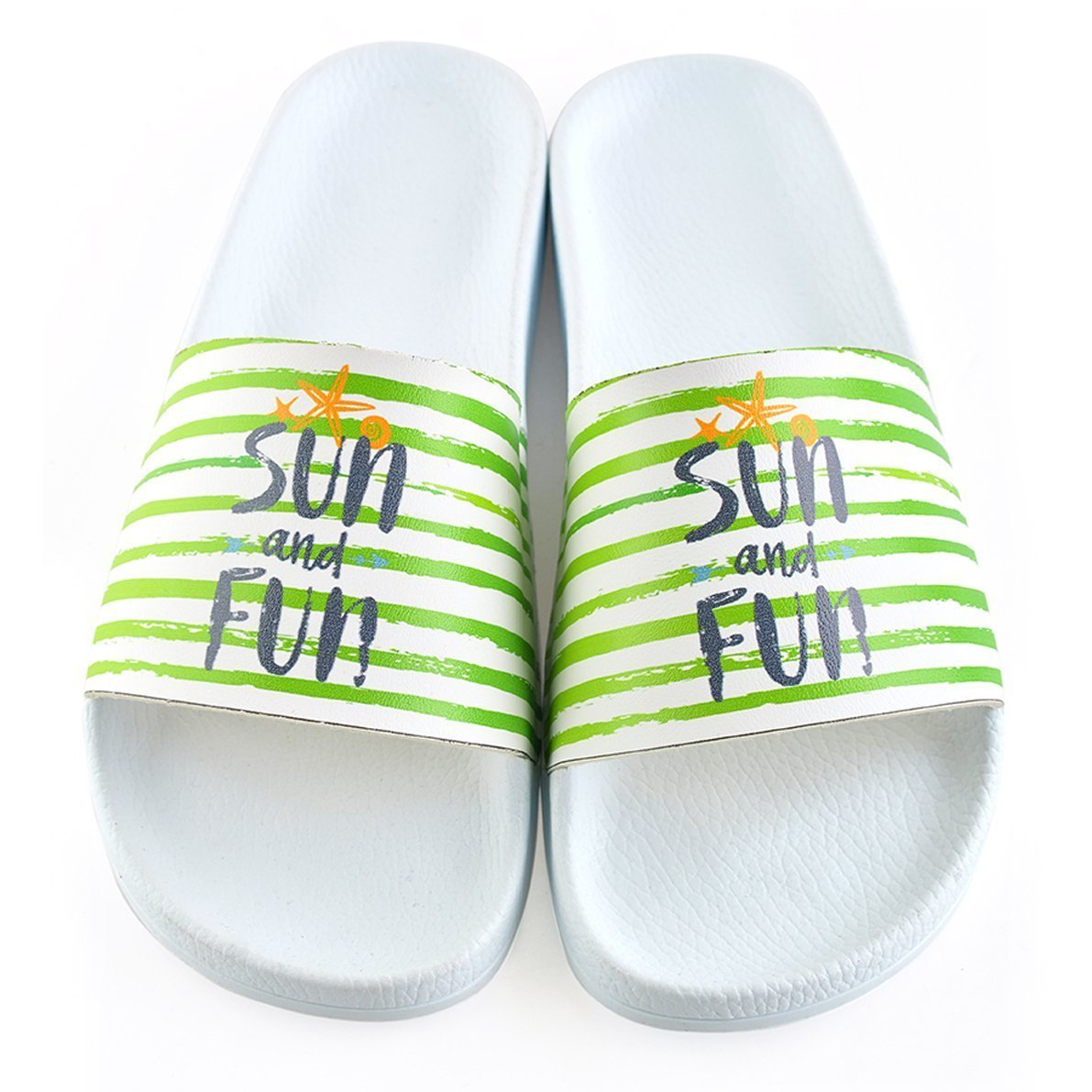 White Stripe Sun & Fun Slide Sandal CAP108