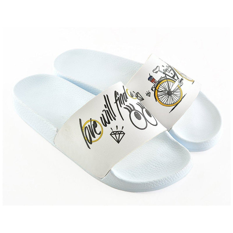 White Love Bicycle Slide Sandal CAP109 (737677246560)