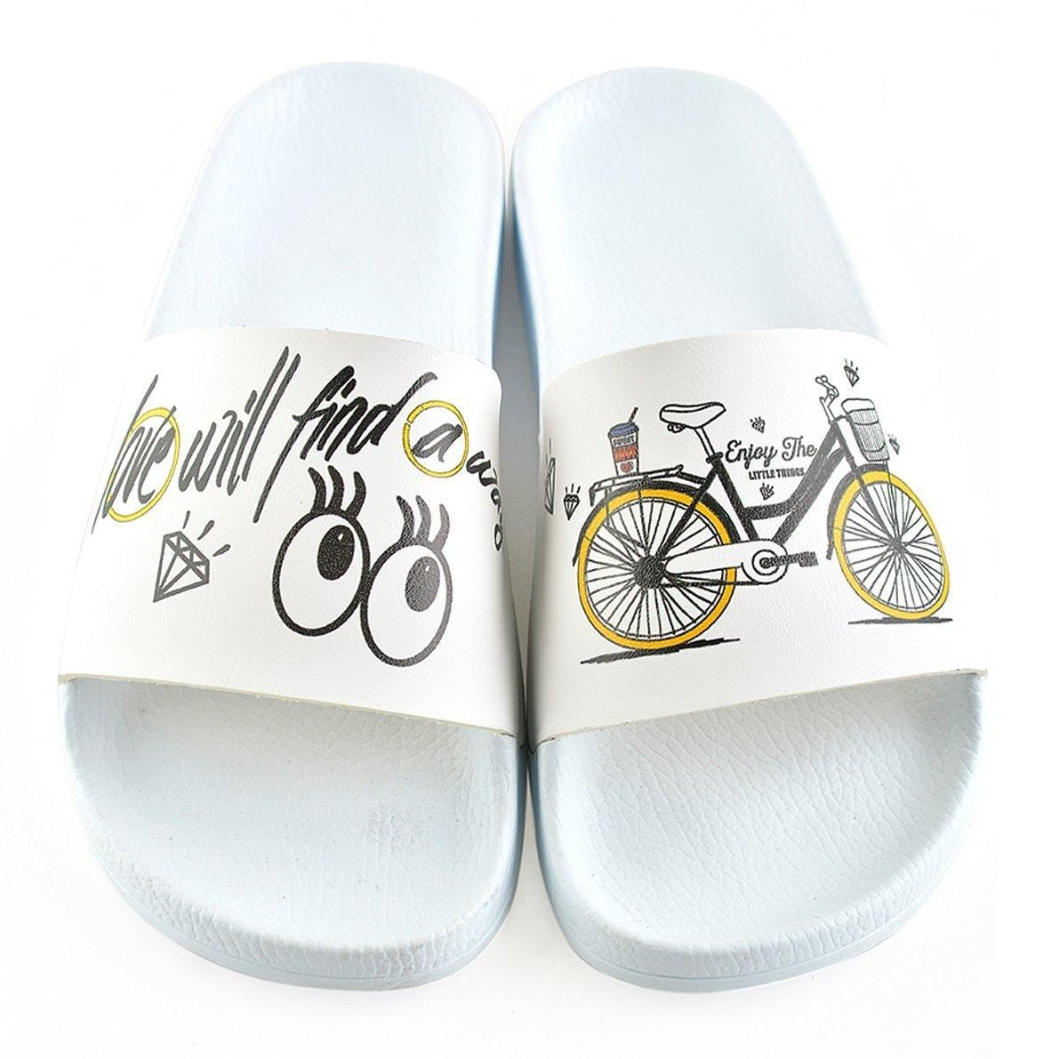 White Love Bicycle Slide Sandal CAP109