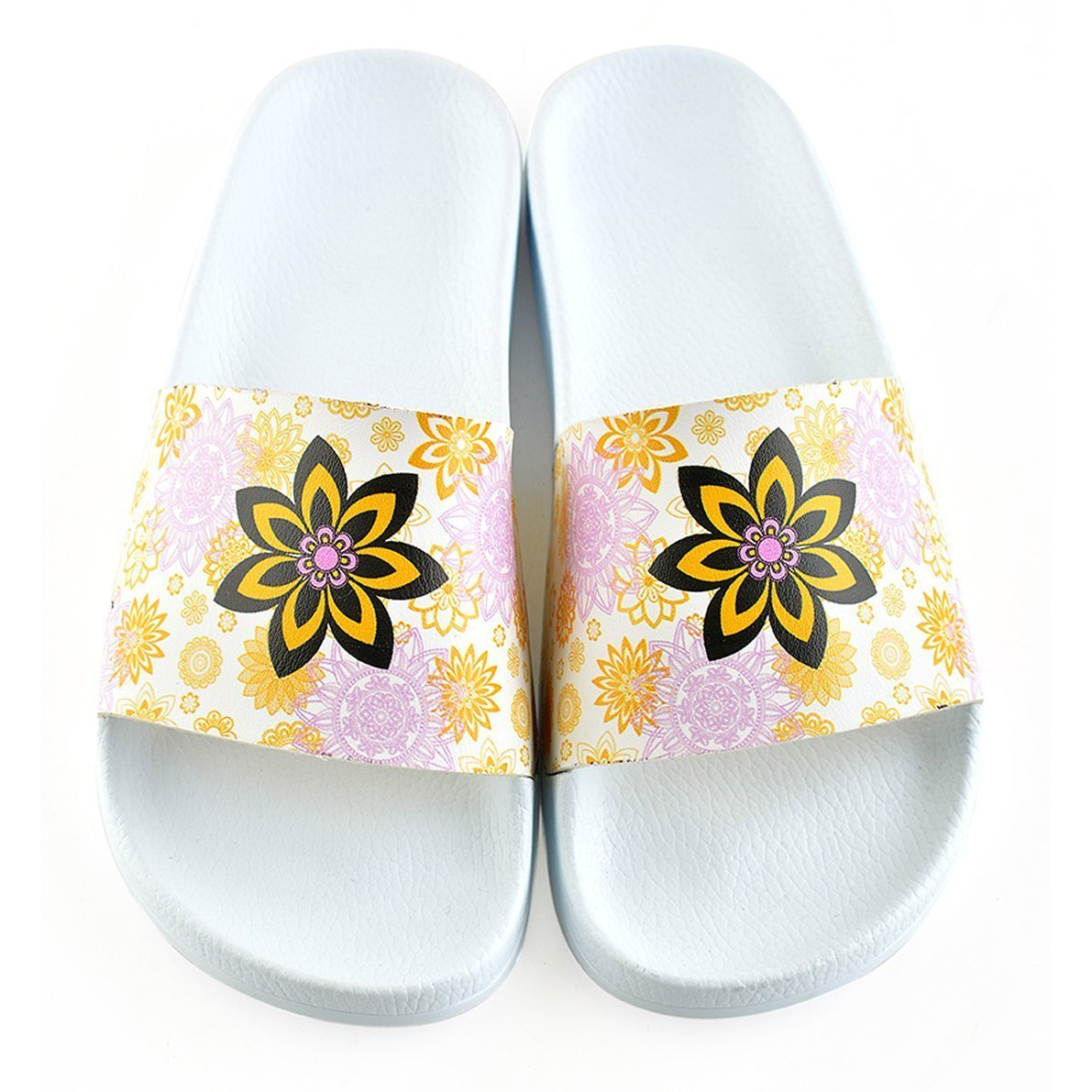 White Flower Slide Sandal CAP110