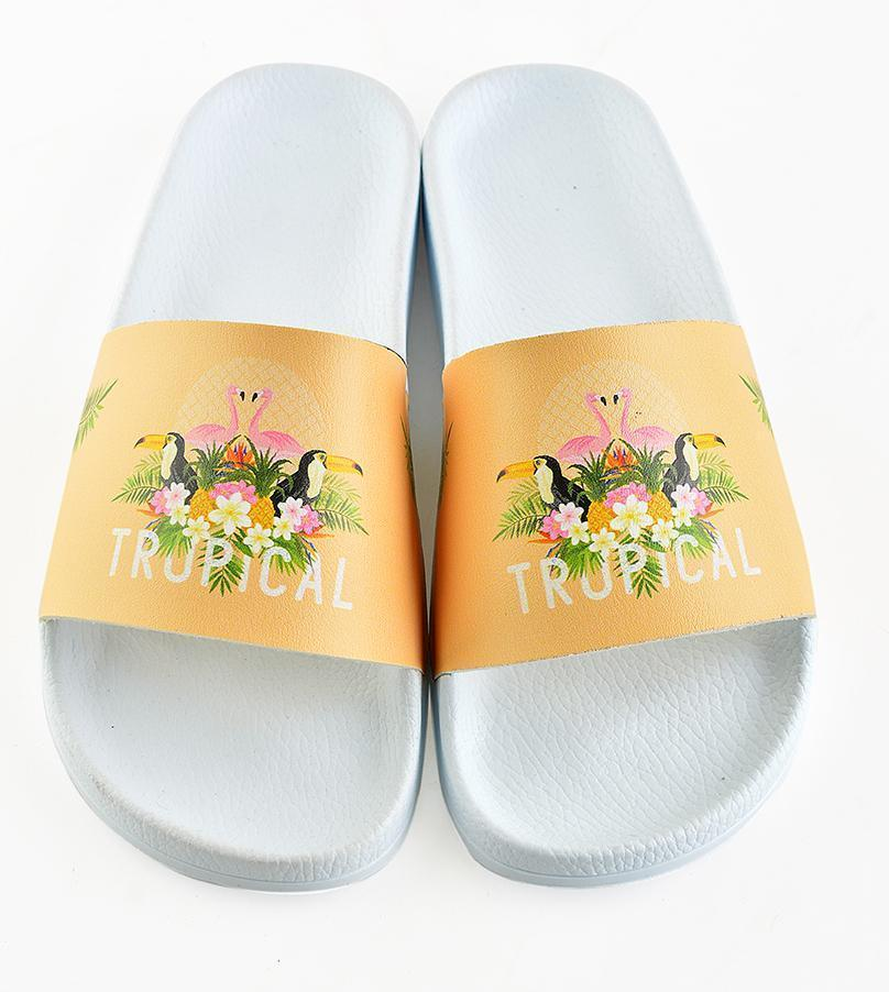 White Tropical Birds Slide Sandal CAP113