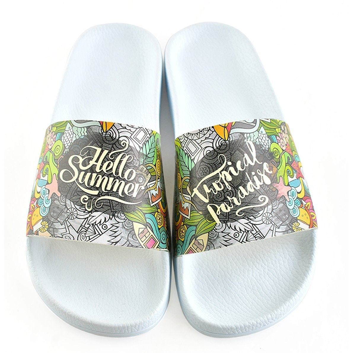 White Tropical Hello Summer Slide Sandal CAP118
