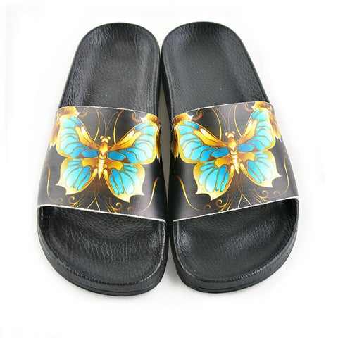 Black & Teal Butterfly Slide Sandal CAP204, Goby, CALCEO Sandal