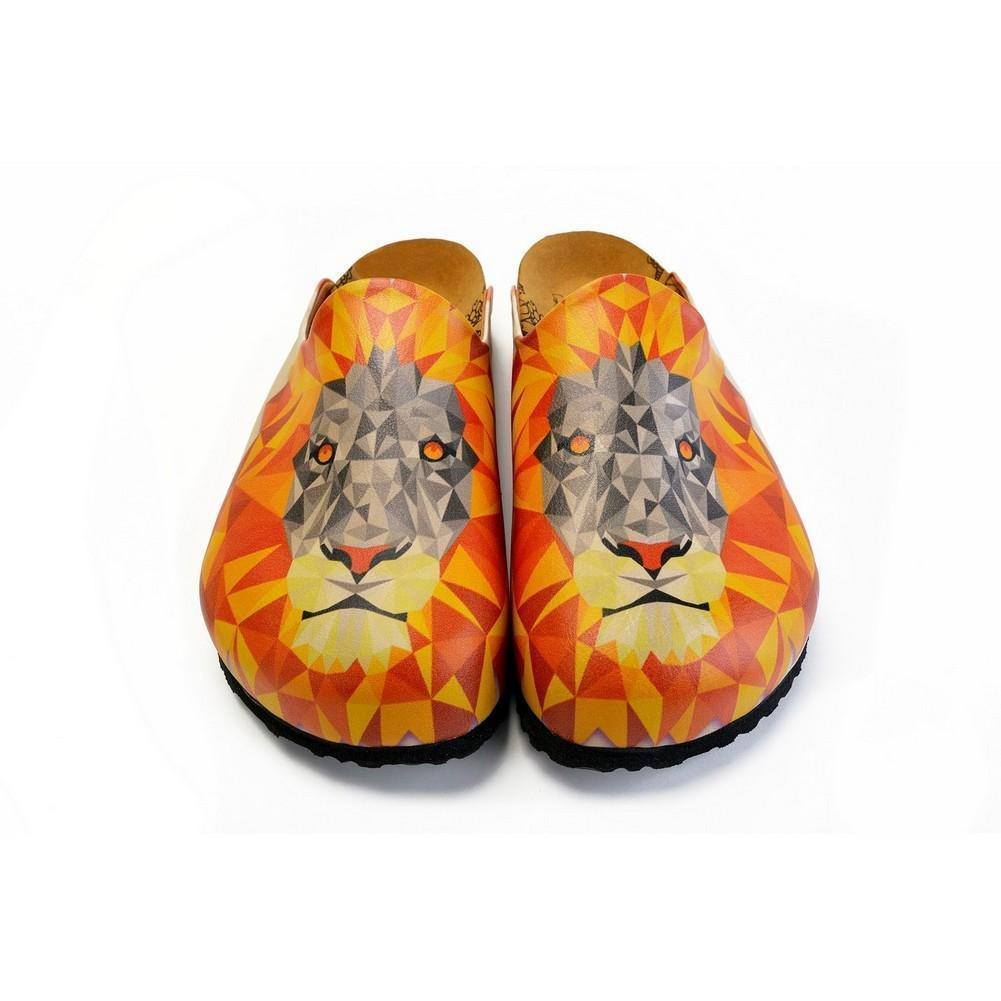 Orange and Red Colored Lion Patterned Clogs - CET101