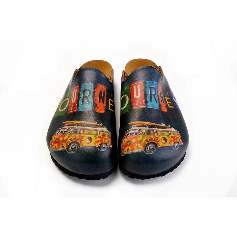 Colorful Journey Written and Colorful Flowers Caravan Patterned Clogs - CET103 (774936658016)
