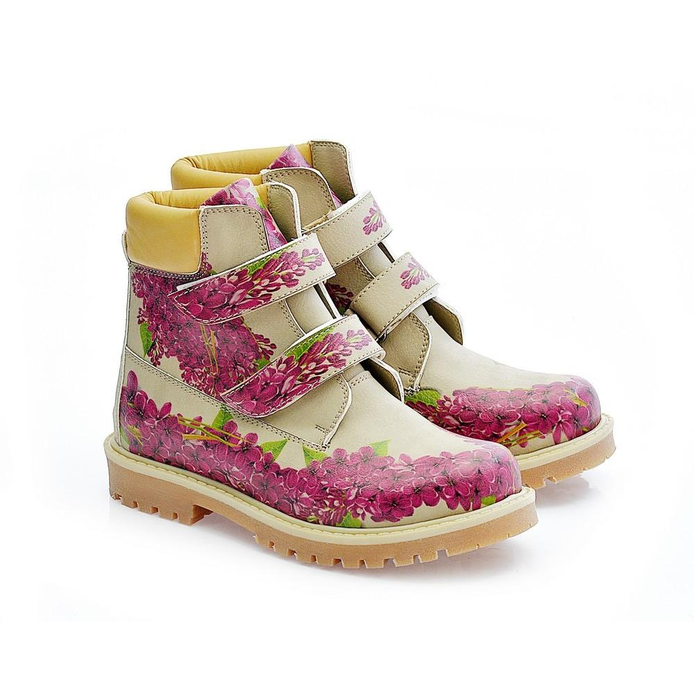Purple Flowers Long Boots COC117