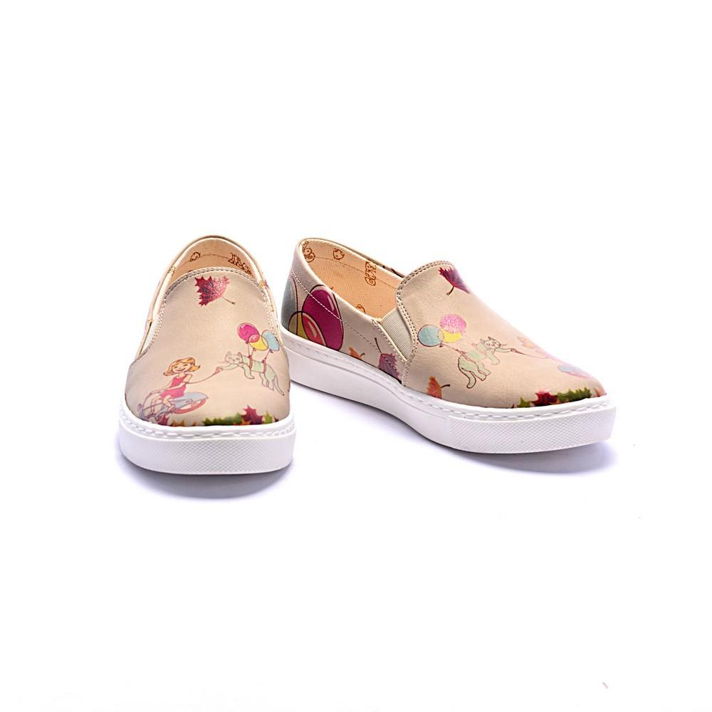 GOBY Confused Cat Slip on Sneakers Shoes COC4001
