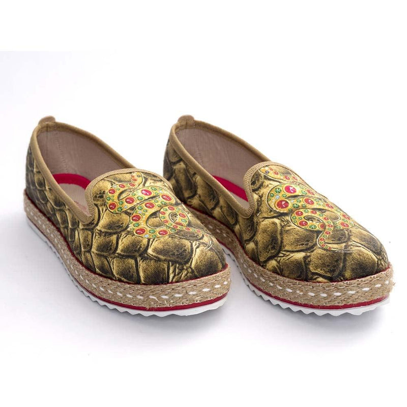 Gold Snake Slip on Sneakers Shoes HVD1461
