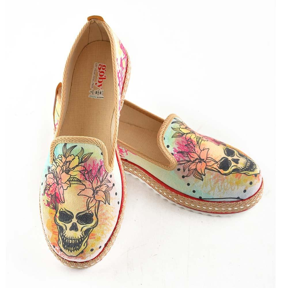 Flowering Skull Slip on Sneakers Shoes HVD1469 - Goby GOBY Slip on Sneakers Shoes