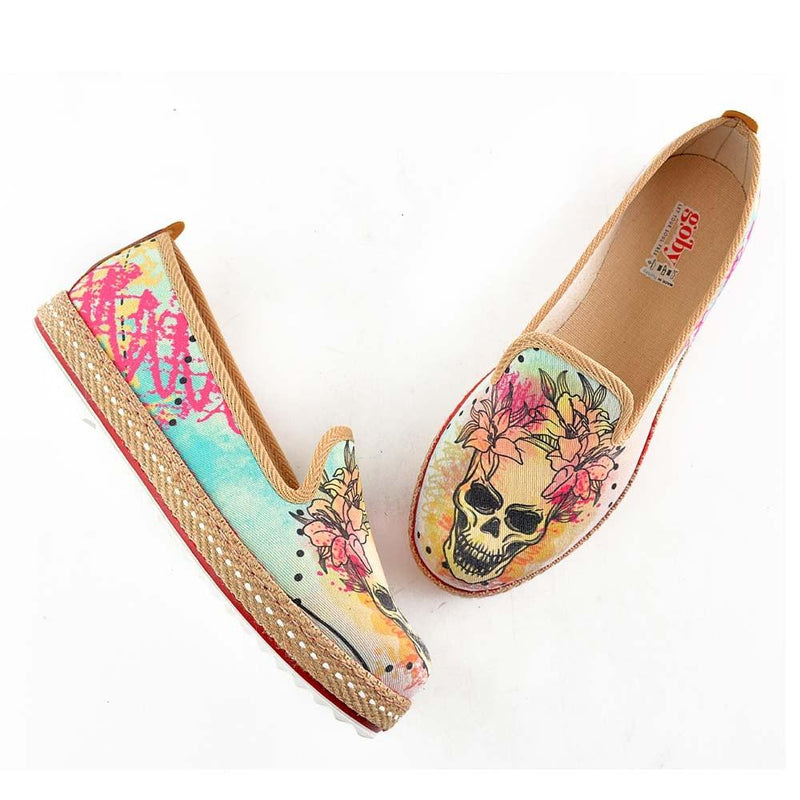 Flowering Skull Slip on Sneakers Shoes HVD1469