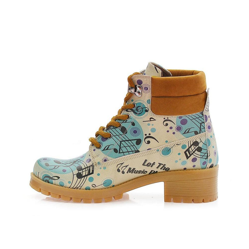 Music Notes Short Boots KAT106 (1421183221856)