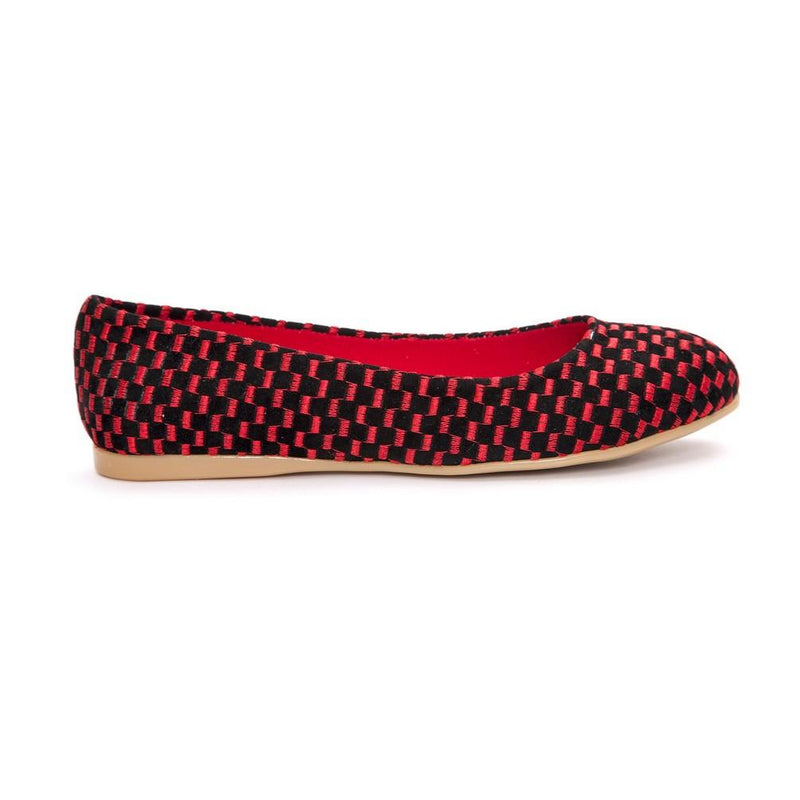 Black and Red Squares Ballerinas Shoes NFS202 (770206236768)