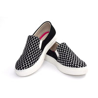 Black and White Squares Slip on Sneakers Shoes NFS601