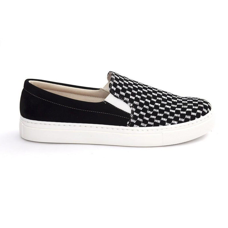Black and White Squares Slip on Sneakers Shoes NFS601 (770208694368)