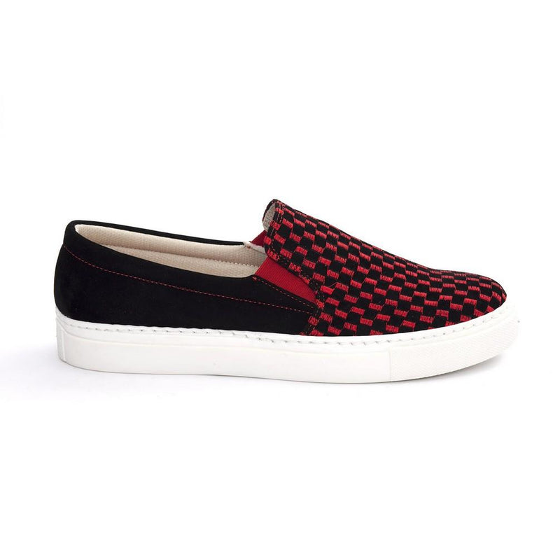 Red and Black Squares Slip on Sneakers Shoes NFS603 (770208858208)