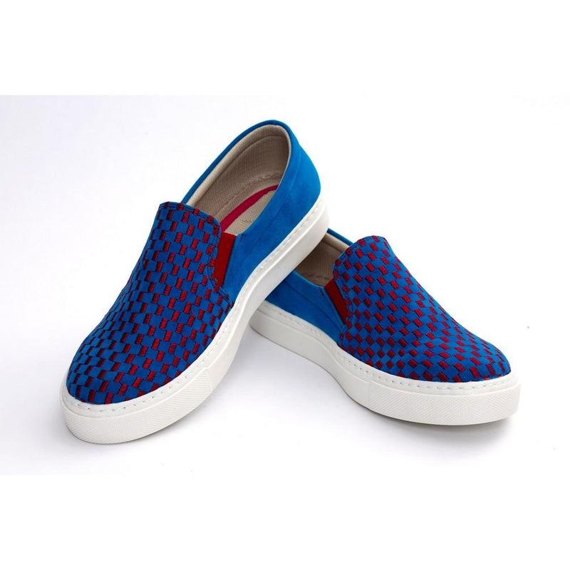 Red and Blue Squares Slip on Sneakers Shoes NFS604 (770208890976)