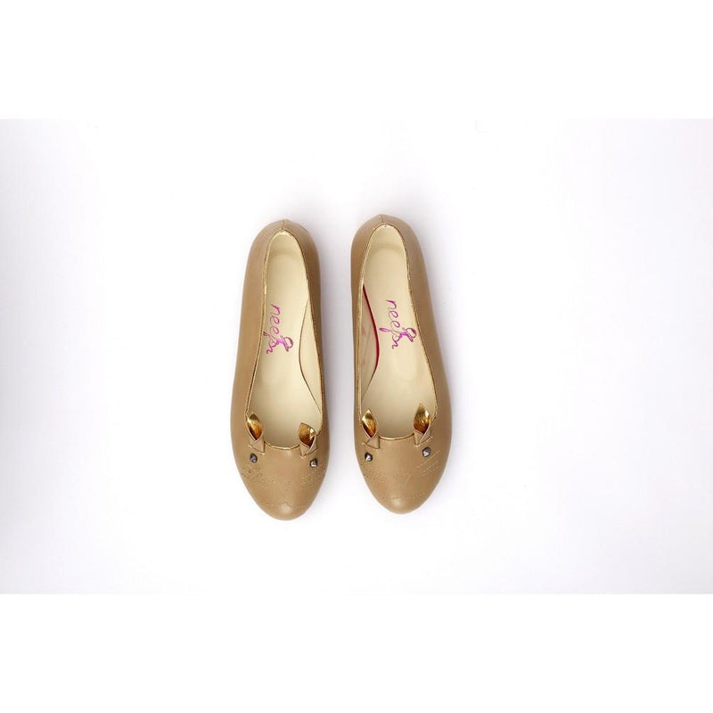 Beige Cat Ballerinas Shoes NKB19 (770210660448)