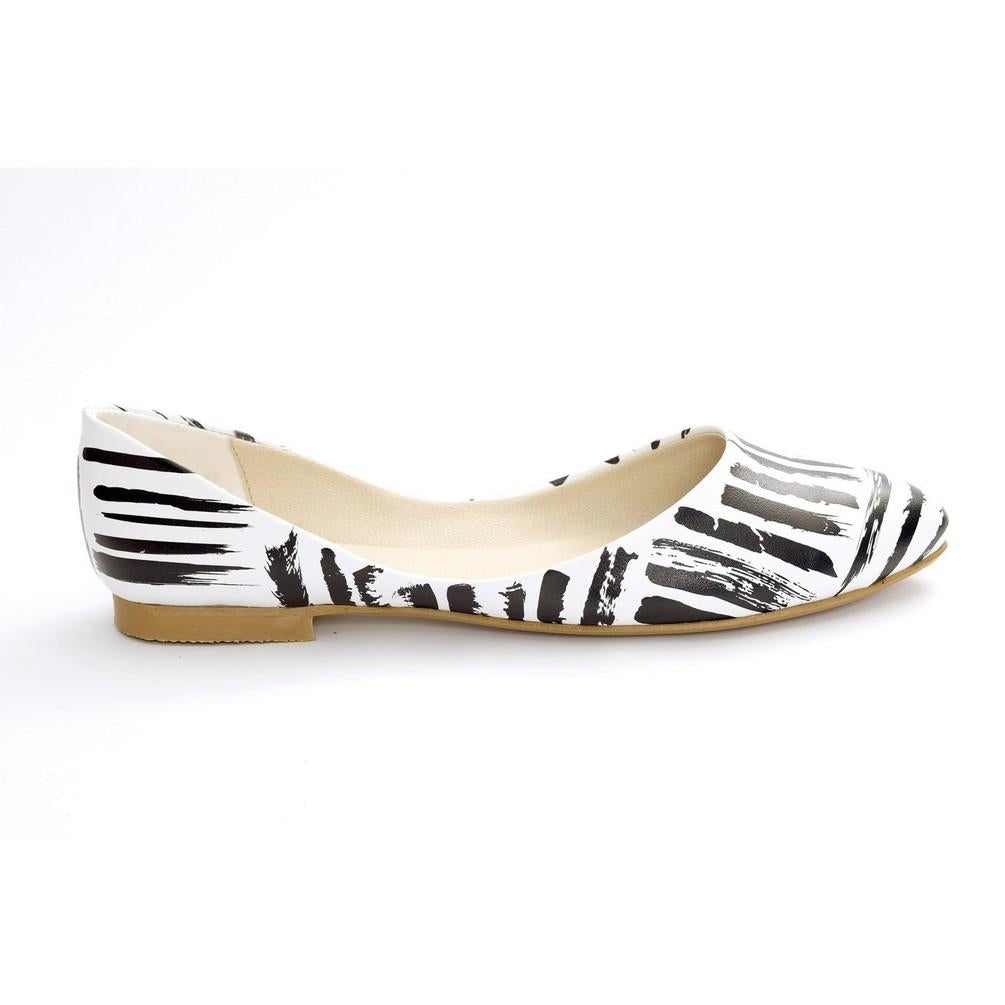 Black and White Ballerinas Shoes NSS351, Goby, NFS Ballerinas Shoes