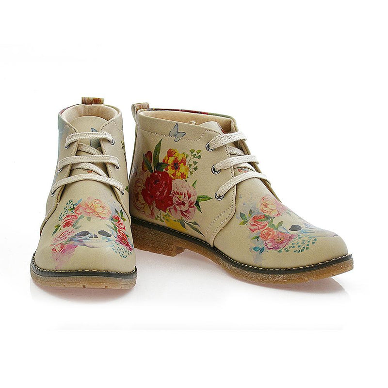 Flowers and Skull Ankle Boots PH210 (506272546848)