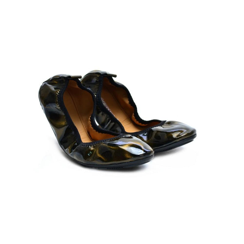 Shiny Dark Yellow Waves Ballerinas Shoes and Bag Set RAS112 (1332748353632)