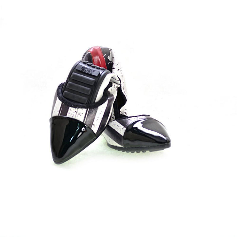 Black and White Pattern Ballerinas Shoes RAS2609 (1332750549088)